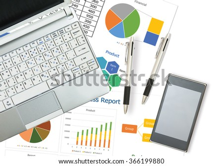 Business and financial graph report on desk in the office