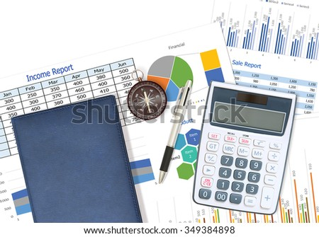 Business and financial report with pen and glasses on desk in office