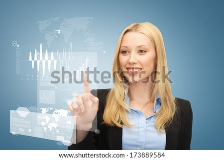 business and future technology concept - beautiful young businesswoman working with virtual screen - stock photo