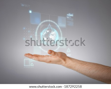 business and future technology concept - close up of male hand showing something - stock photo