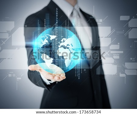 business and future technology concept - closeup of businessmans hand showing earth globe - stock photo