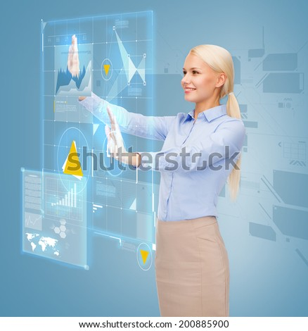 business and future technology concept - smiling businesswoman working with virtual screen - stock photo