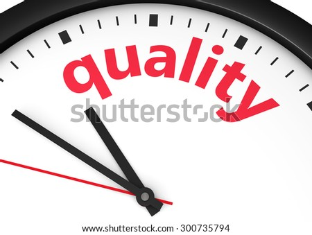 Business and lifestyle concept with a clock and quality word and sign printed in red 3d render image. - stock photo