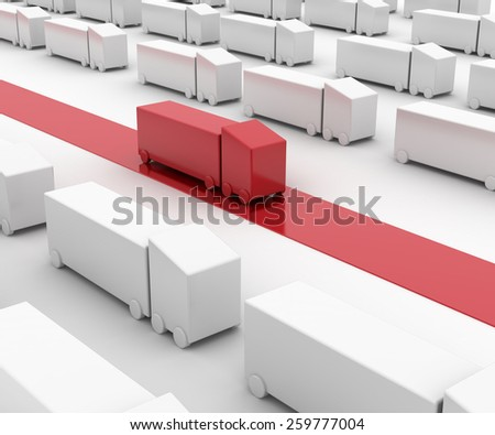 Business and logistics concepts, 3d render isolated on white - stock photo