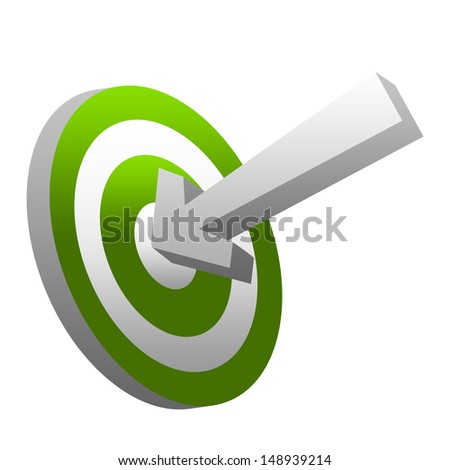 Business and Marketing Concept, 3d Arrow Hitting Green Target Isolated on White Background  - stock photo
