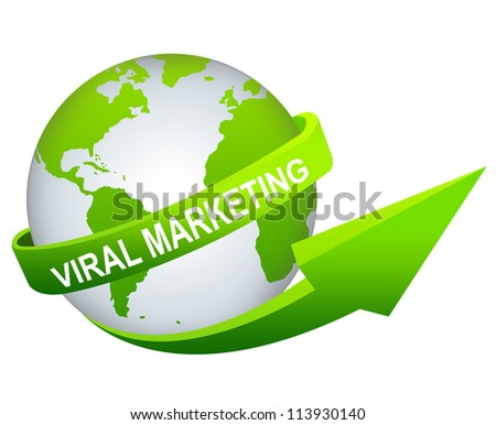 Business And Marketing Concept Present By Green Viral Marketing Arrow Around The Green World Isolated on White Background - stock photo