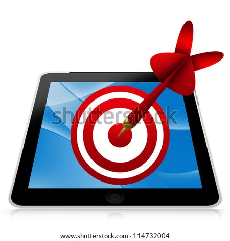 Business and Marketing Concept Present By Tablet PC With Red 3d Arrow Hitting a Red Target Isolated on White Background - stock photo