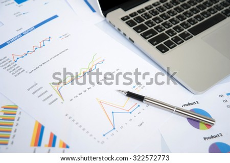 Business and marketing statistic with money graph