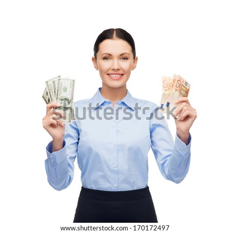 business and money concept - young businesswoman with dollar and euro cash money