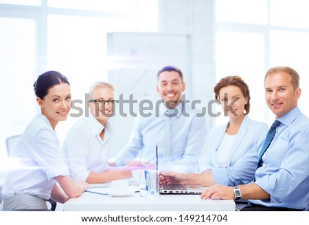 business and office concept - business team having meeting in office - stock photo
