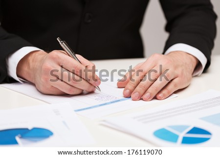 business and office concept - close up of businessman with papers - stock photo
