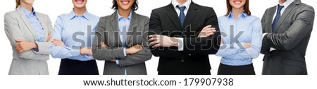 business and office concept - friendly international business team or group - stock photo