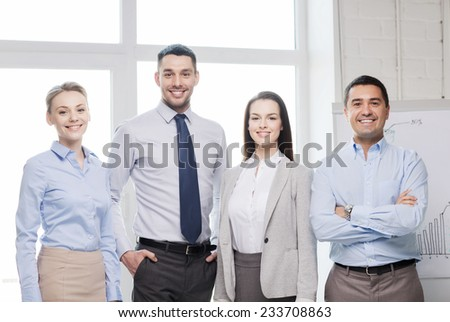 business and office concept - happy business team in office