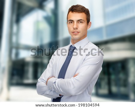business and office, people concept - friendly young businessman - stock photo