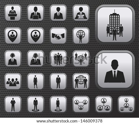 Business and office people, management, human resources icons buttons set on metal plates. raster version, vector file also available in gallery - stock photo
