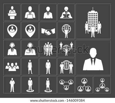 Business and office people, management, human resources white icons set. raster version, vector file also available in gallery - stock photo
