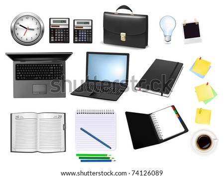 Business and office supplies. - stock photo