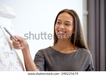 business and people concept - smiling businesswoman pointing marker to flipboard on presentation in office - stock photo