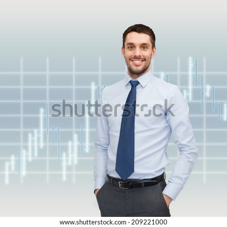 business and people concept - smiling young and handsome businessman over forex chart background - stock photo
