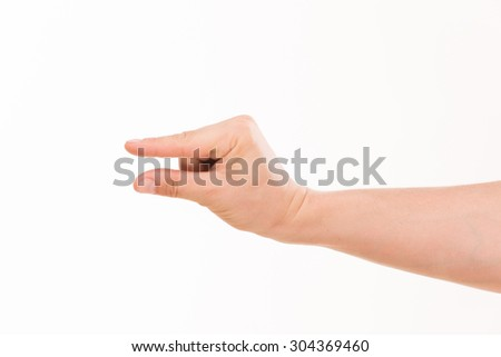 Business and profit concept. Money in businessman's hand isolated on white background. There are a hand and an arm on the photo. - stock photo