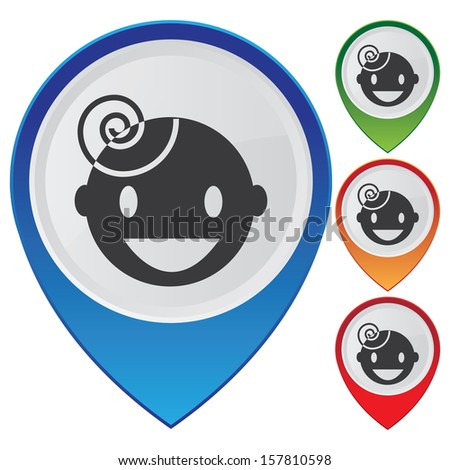 Business and Service Concept Present By Colorful Glossy Style Map Pointer With Nursery School or Children Sign Isolated on White Background - stock photo