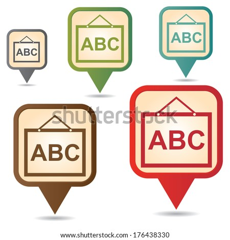 Business and Service Concept Present By Colorful Vintage Style Map Pointer Icon With School or Tutor Sign Isolated on White Background  - stock photo