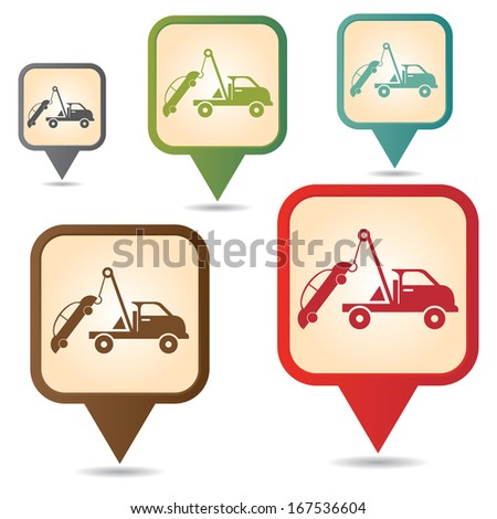 Business and Service Concept Present By Colorful Vintage Style Map Pointer Icon With Tow Car Service Sign Isolated on White Background  - stock photo