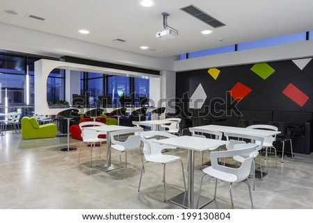 Business and shopping building cafe - stock photo
