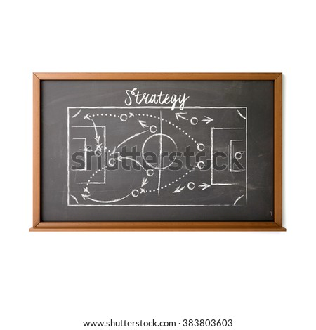 Business and sports game plan on blackboard with strategy text written by white chalk. High quality 3D render, isolated on white.