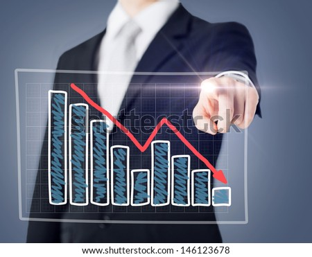 business and technology concept - businessman hand with chart on virtual screen - stock photo