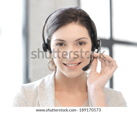 business and technology concept - friendly female helpline operator