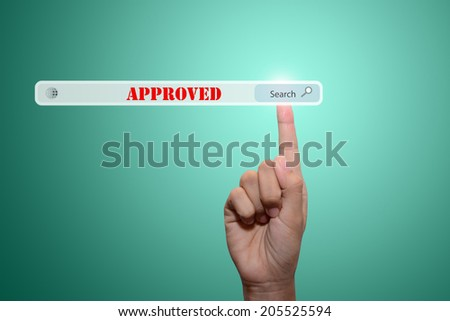 Business and technology, searching system and internet concept - male hand pressing Search  Approved - stock photo