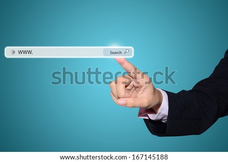 Business and technology, searching system and internet concept - male hand pressing Search button.