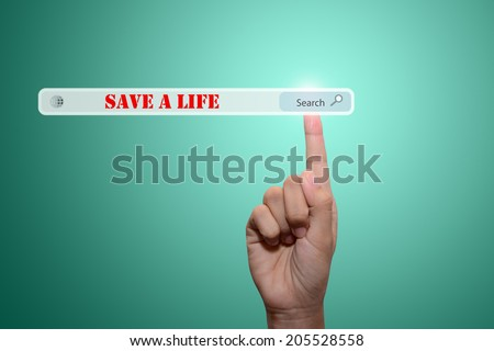 Business and technology, searching system and internet concept - male hand pressing Search SAVE A LIFE - stock photo