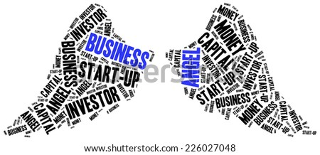 Business angel or funds gaining concept. Word cloud illustration. - stock photo