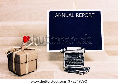 business  annual report blank list memo written on a blackboard with typewriter - stock photo