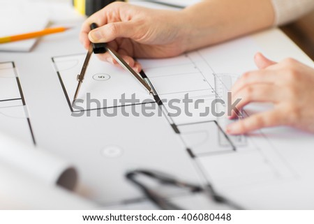 business, architecture, building, construction and people concept - close up of architect hands with compass measuring living house blueprint - stock photo