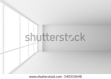 Business architecture white colorless office room interior - empty white business office room with white floor, ceiling, walls and large windows and empty space, 3d illustration