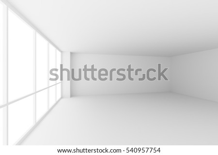 Business architecture white colorless office room interior - empty white business office room with white floor, ceiling, walls and large windows and empty space, 3d illustration, wide angle