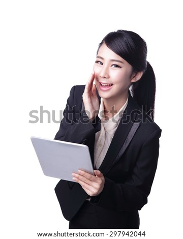business are using digital tablet and screaming isolated on white beckground,asian beauty - stock photo