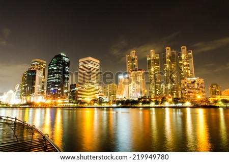 business area at night in Bangkok, Thailand