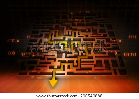 Business arrow solved the maze on abstract background 	 - stock photo