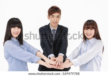 Business asian group -handsome young man shaking hands  - stock photo