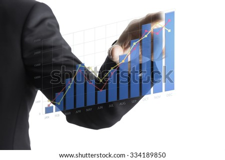 Business Asian Man Drawing Increase Graph. Business Concept - stock photo