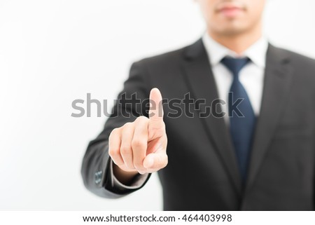 Business asian man in suit show finger hand on white background