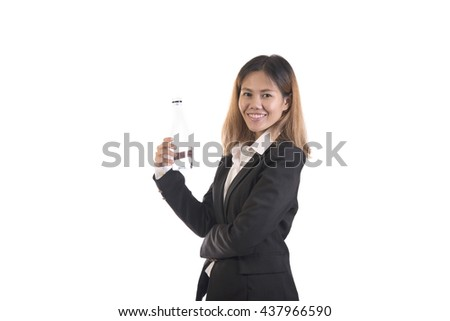 Business asian woman hand holding water bottle drinking water isolated on white background. - stock photo