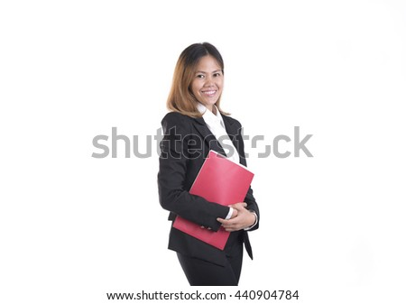 Business asian woman portrait hand holding red file isolated on white background.