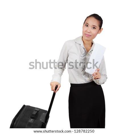 Business Asian woman with a suitcase isolated on white background. - stock photo