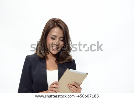 Business Asian woman with tablet on white background