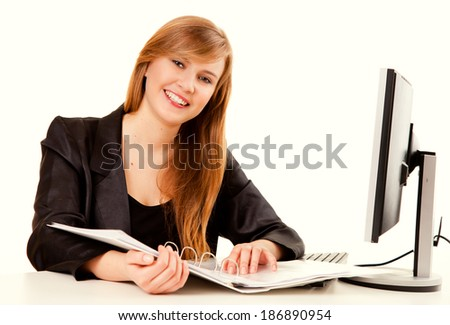 business assistant working on the computer, white background